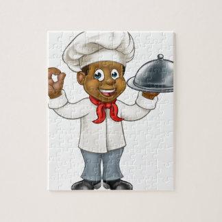 Personnage de dessin animé noir de chef puzzle