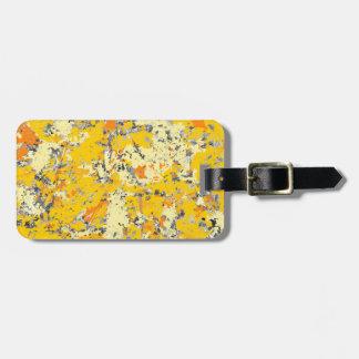 Personnalisable grunge orange et jaune étiquettes bagages