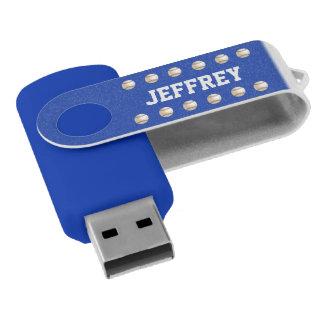Personnalisé, bleu de base-ball avec le nom blanc clé USB 2.0 swivel