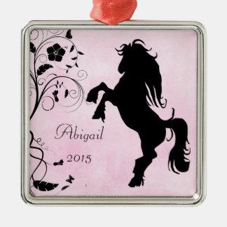 Personnalisé élevant le noir de rose de cheval de ornement carré argenté