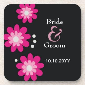 Personnalisé épousant le noir rose de fleurs de sous-bocks