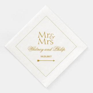 Personnalisé épousant M. Mme Gold Serviettes Jetables