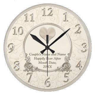 Personnalisé heureusement pour toujours épousant grande horloge ronde