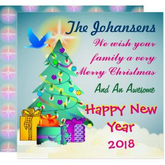 Personnalisé souhaitant à votre famille un Joyeux Carton D'invitation 13,33 Cm