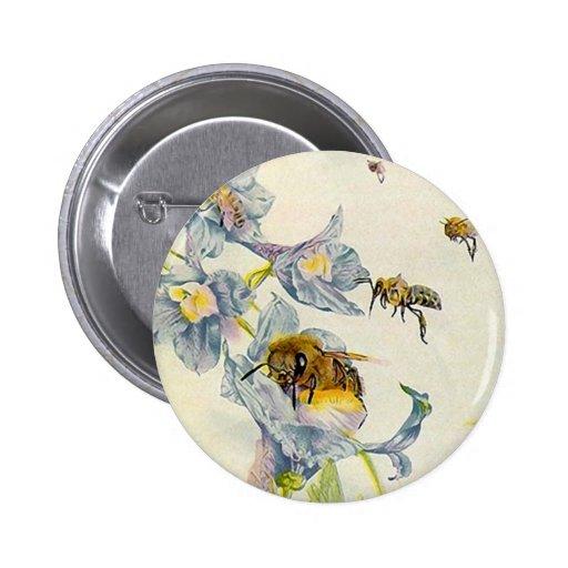 Personnaliser d'abeilles de miel et de fleurs EZ2  Pin's Avec Agrafe