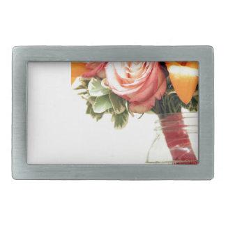 personnaliser de rose d'orange de rose de fleurs boucles de ceinture rectangulaires
