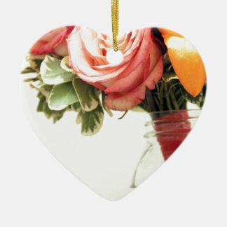 personnaliser de rose d'orange de rose de fleurs ornement cœur en céramique