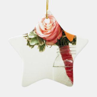 personnaliser de rose d'orange de rose de fleurs ornement étoile en céramique