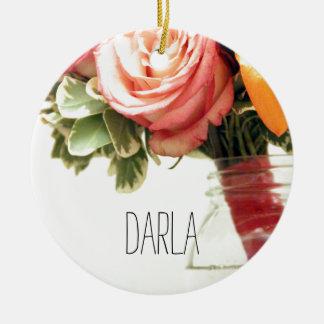 personnaliser de rose d'orange de rose de fleurs ornement rond en céramique