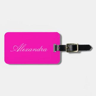 Personnaliser rose au néon de couleur solide il étiquette à bagage