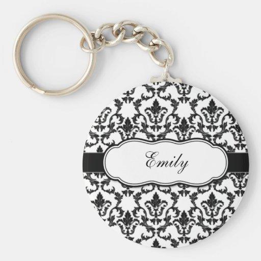 Personnalisez avec votre damassé nommée Keychain Porte-clés