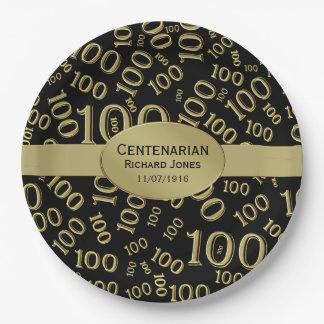 Personnalisez :  Centenarian, 100th thème Assiettes En Papier