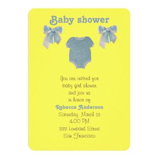 Personnalisez, combinaison bleue de bébé carton d'invitation  12,7 cm x 17,78 cm