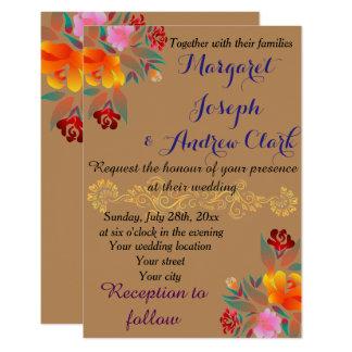 Personnalisez d'or floral multicolore, en épousant carton d'invitation 8,89 cm x 12,70 cm
