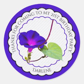 Personnalisez :  Gloire de matin florale de Sticker Rond