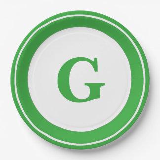 Personnalisez : Initiale verte audacieuse de Assiettes En Papier