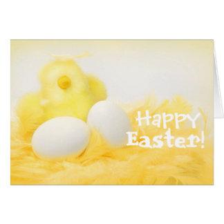 Personnalisez la carte de Pâques jaune de poussin