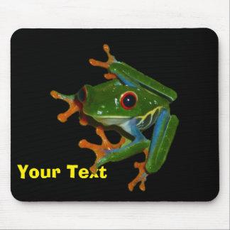 Personnalisez la grenouille observée par rouge du tapis de souris