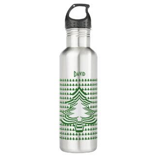 Personnalisez la police d'arbre Noël vert/blanc Bouteille D'eau En Acier Inoxydable