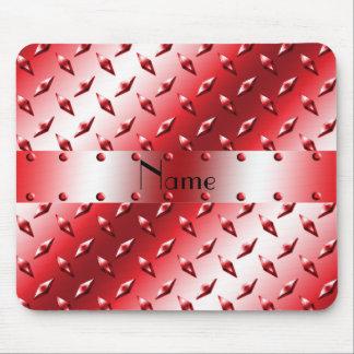 Personnalisez l'acier rouge nommé de plat de tapis de souris