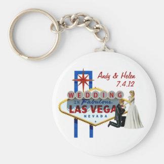 Personnalisez Las Vegas épousant le porte - clé de Porte-clé Rond