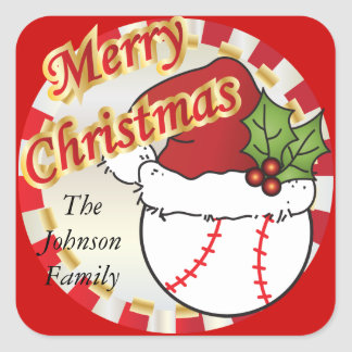 Personnalisez le base-ball de Joyeux Noël Sticker Carré