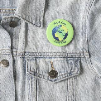 Personnalisez le globe bleu d'étincelles de jour badge