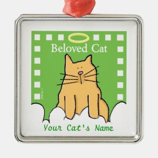 Personnalisez le mémorial aimé de chat ornement carré argenté