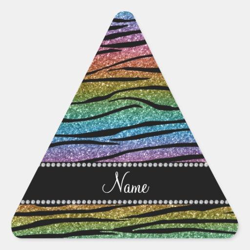 Personnalisez les rayures nommées de zèbre de autocollants en triangle