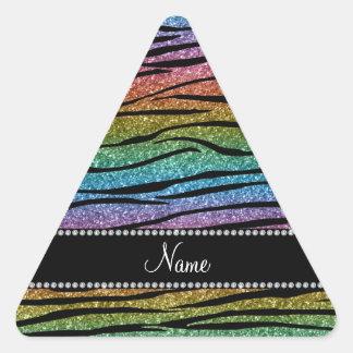 Personnalisez les rayures nommées de zèbre de sticker triangulaire