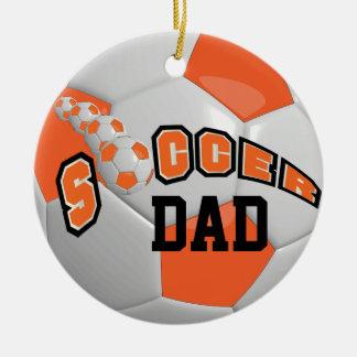 Personnalisez l'orange du ballon de football | ornement rond en céramique