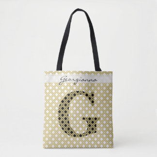Personnalisez : Or initial audacieux/noir Tote Bag