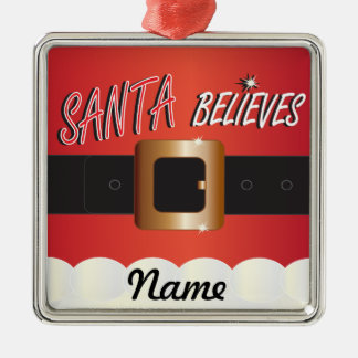 Personnalisez Père Noël croit Ornement Carré Argenté
