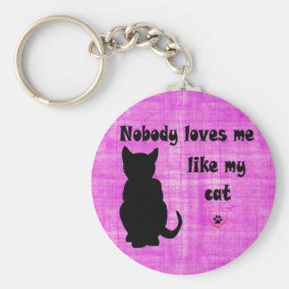 Personne ne m'aime comme mon chat porte-clé rond
