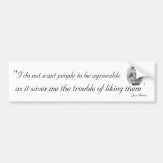 Personnes agréables : Jane Austen citable Autocollants Pour Voiture