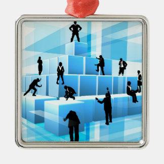 Personnes d'équipe d'affaires de silhouette de ornement carré argenté