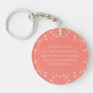 Persuasion florale Jane Austen de citation de Porte-clé Rond En Acrylique Double Face