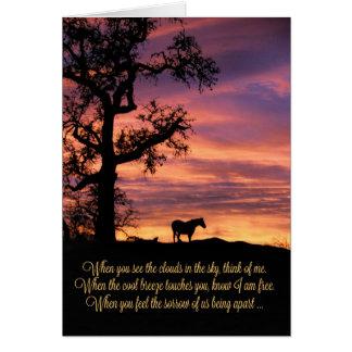 Perte de cheval, carte de sympathie de cheval