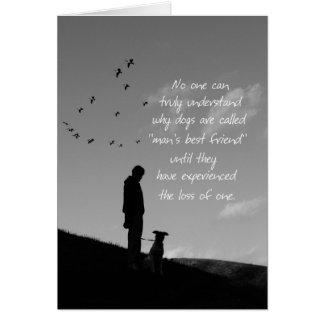 Perte d'homme et de chien de carte de sympathie de