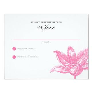 Pétales et ailes épousant RSVP dans le noir rose Carton D'invitation 10,79 Cm X 13,97 Cm