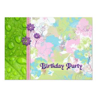 Pétales et fête d'anniversaire de baisses de rosée carton d'invitation  12,7 cm x 17,78 cm