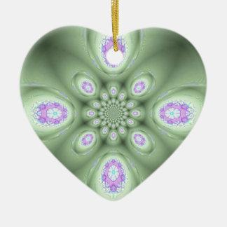Pétales modernes frais de lavande d'abrégé sur ornement cœur en céramique
