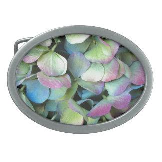 Pétales multicolores d'HORTENSIA --- Boucle De Ceinture Ovale
