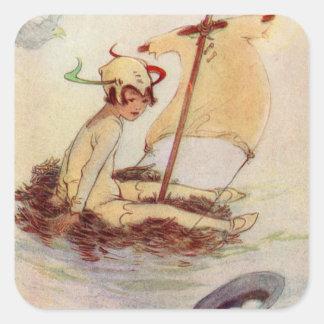Peter Pan sur le radeau de nid Sticker Carré
