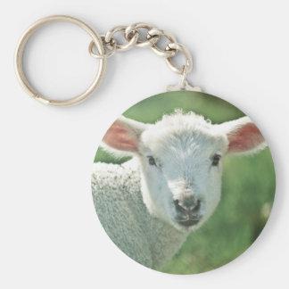 Petit agneau blanc porte-clé rond