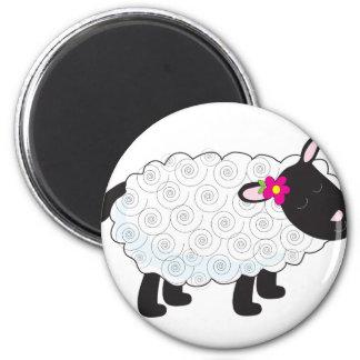 Petit agneau magnet rond 8 cm