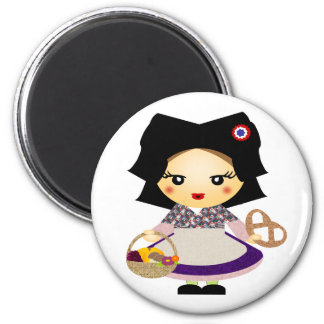 Petit alsacienne de fille magnet rond 8 cm