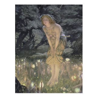 Petit ange féerique et fille carte postale