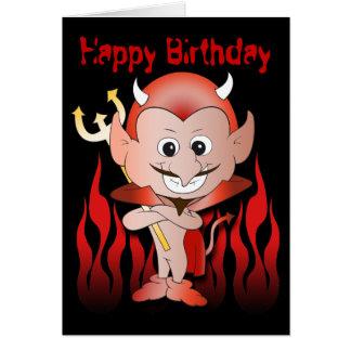 Petit anniversaire mignon de diable carte de vœux