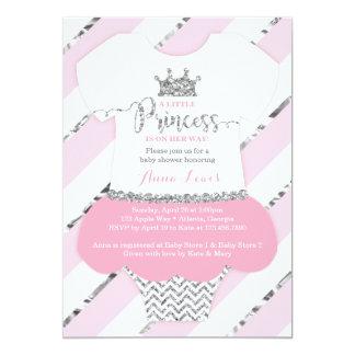 Petit argent de rose d'invitation de princesse carton d'invitation  12,7 cm x 17,78 cm